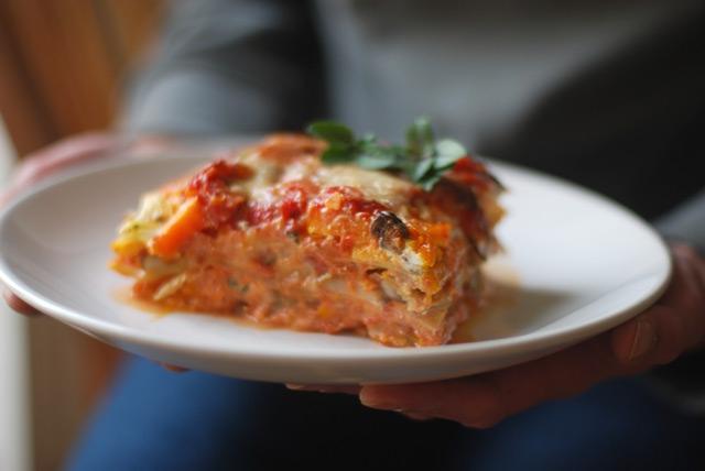 Lasagne mit Kürbis, Wirsing und Pilzen