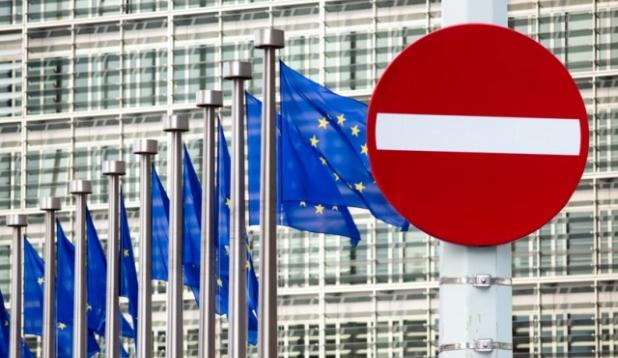 Einfahrt verboten - Schild vor der EU-Kommission